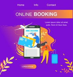 Online booking service flat landing page vector