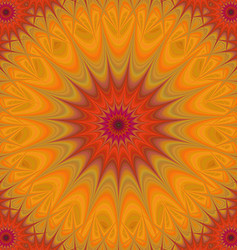 Orange and red abstract mandala fractal background vector image