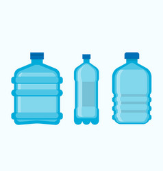 Plastic bottles with clean fresh mineral water set vector