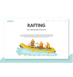 Rafting flat landing page template with text space vector
