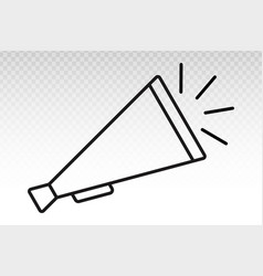 Retro old megaphone with sound line art icon vector