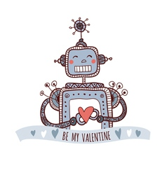 robot with heart be my valentine vector image