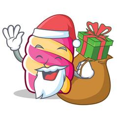 Santa with gift marshmallow character cartoon vector
