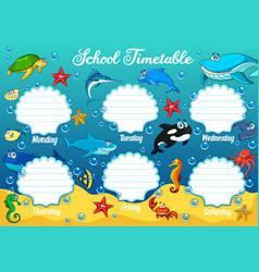 School timetable with underwater cartoon animals vector