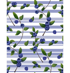 Seamless pattern of blueberry branches berries vector