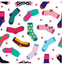 seamless pattern with different funny socks vector image