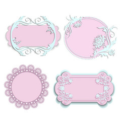 Set of pink frames for girls vector