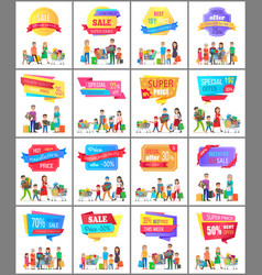 set of promo label on posters with people shopping vector image