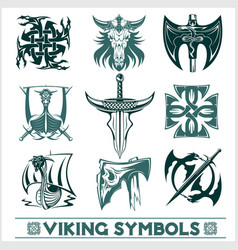 Set of viking symbols icons vector