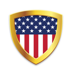 Shield gold edge with usa flag vector