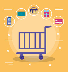Shopping cart with set commercial icons vector