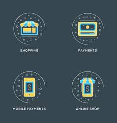 shopping payments mobile payments online shop set vector image