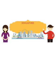 Singapore landmarks people traditional clothing vector