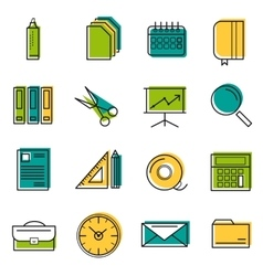 Sixteen thin line colored office icons vector