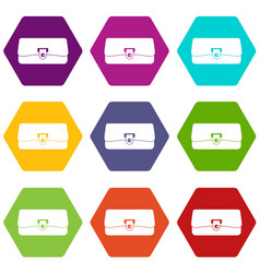 small wallet icon set color hexahedron vector image
