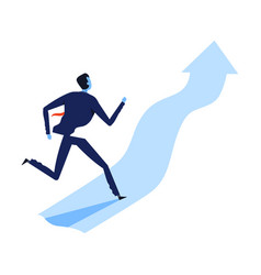 successful businessman in suit running up vector image