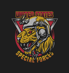 T shirt design united states special forces tiger vector