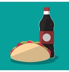 Taco and soda of fast food concept vector