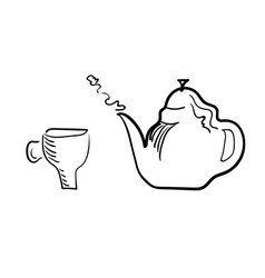 Teacup and brewing teapot on a white background vector