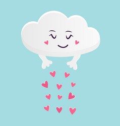 The funny cloud scattering hearts vector