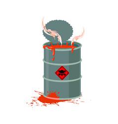 Toxic waste barrel radioactive industry garbage vector
