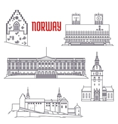 Travel sights of Norway icon in thin line style vector image