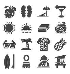 tropical summer hawaii icon set with white vector image