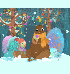Ute child and bear eat ice cream in a festive vector