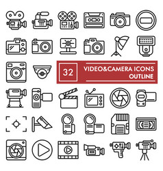 videocamera line icon set camera symbols vector image