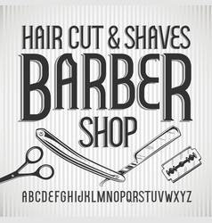 vintage typeface barbershop font vector image