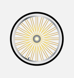 Wheel of bicycle with bicycle sprocket in a flat vector