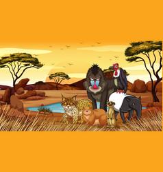 Wild animals in desert field vector