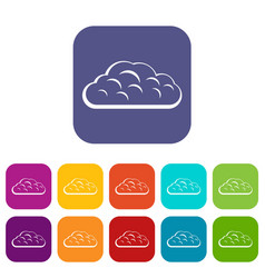 Winter cloud icons set flat vector