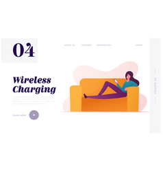 wireless charger landing page template female vector image