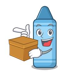 with box blue crayon in cartoon column vector image