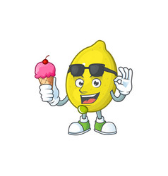 With ice cream lemon character with design cartoon vector