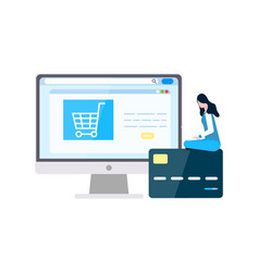 woman ordering online purchasing items with card vector image