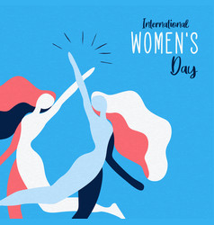 Womens day card woman friends together vector