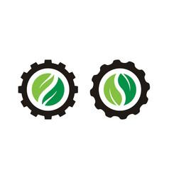 Yin yang leaf gear cog wheel agriculture farm logo vector