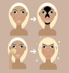 Young blonde girl doing morning routine vector