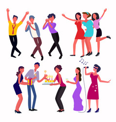 young people dancing in a club and celebrating vector image