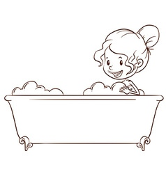 A simple sketch of a girl at the bathtub vector image vector image