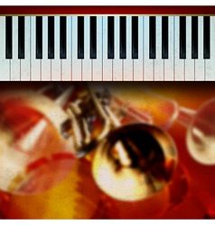 abstract grunge red background with trumpets and vector image vector image