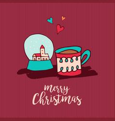 christmas holiday decoration cute cartoon card vector image vector image