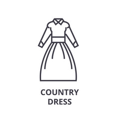 country dress line icon outline sign linear vector image vector image