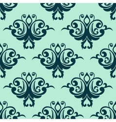 Damask style seamless pattern in blue vector image vector image
