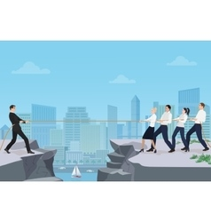 Powerful strong businessman competing with group vector image vector image