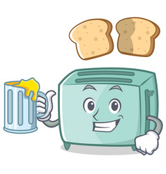 with juice toaster character cartoon style vector image vector image