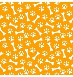 Animal seamless pattern of paw footprint and bone vector image
