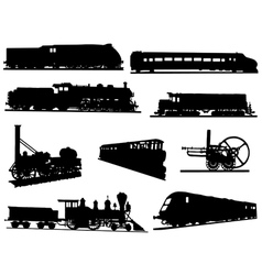 Collection of silhouettes of engines and trains vector image vector image